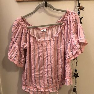 AE pink stripes babydoll top with tassels